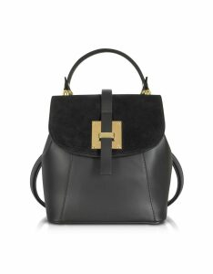 Gisèle 39 Designer Handbags, Palazia Black Suede and Leather Small Backpack