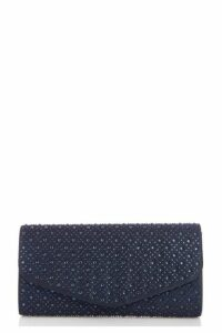 Quiz Navy Jewel Clutch Bag