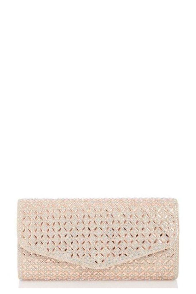 Quiz Rose Gold Jewel Clutch Bag