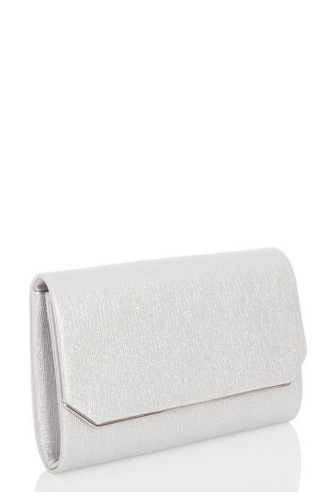 Quiz Silver Cut Off Corner Clutch Bag