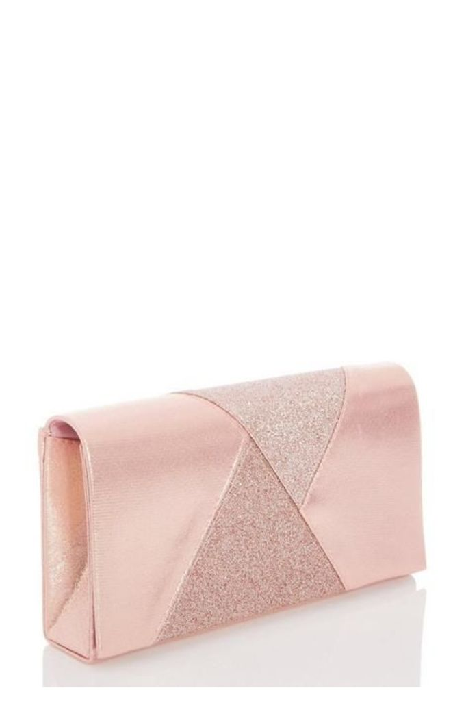 Quiz Rose Pink Glitter Shimmer Clutch Bag