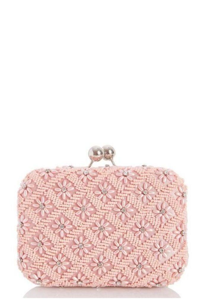 Quiz Pink Flower Pearl Bead Bag
