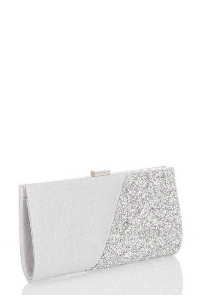 Quiz Silver Shimmer Clutch Bag