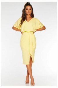 Quiz Lemon V Neck Batwing Midi Dress
