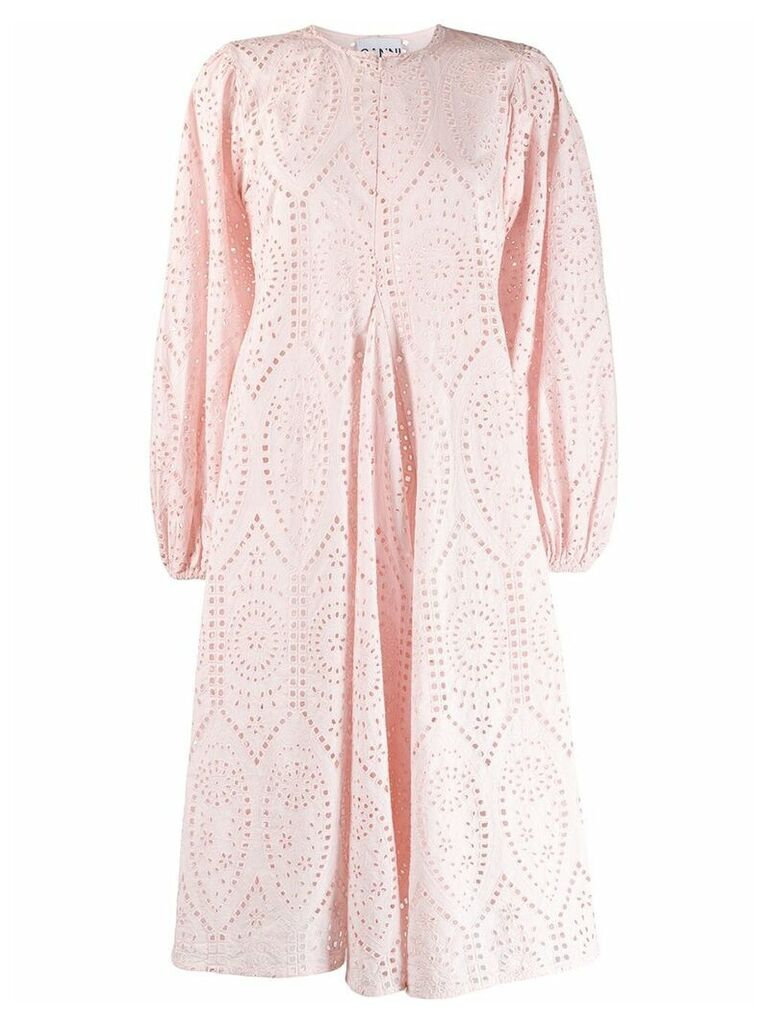 Ganni broderie anglaise flared dress - Pink