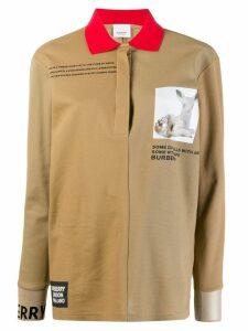 Burberry Long-sleeve Montage Print Cotton Polo Shirt - Neutrals