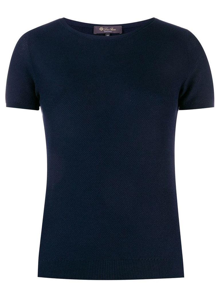 Loro Piana textured knitted top - Blue