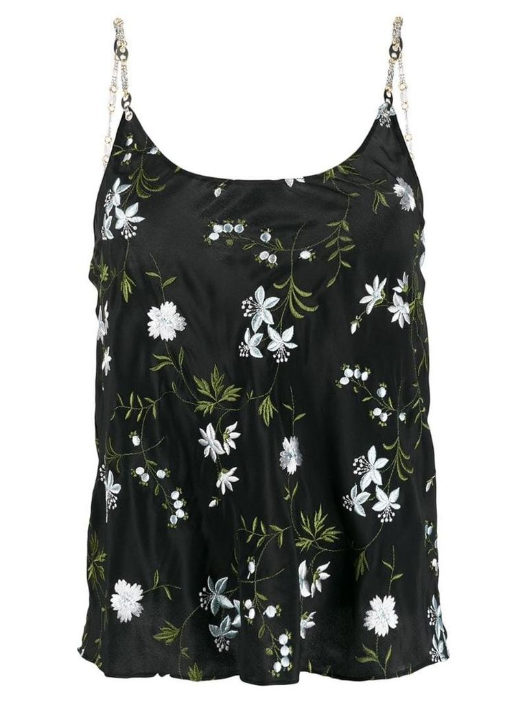 Paco Rabanne embroidered floral cami top - Black
