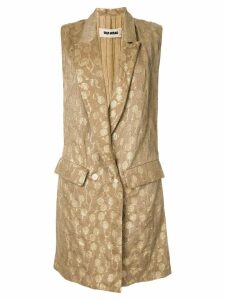 Uma Wang embroidered sleeveless coat - Brown