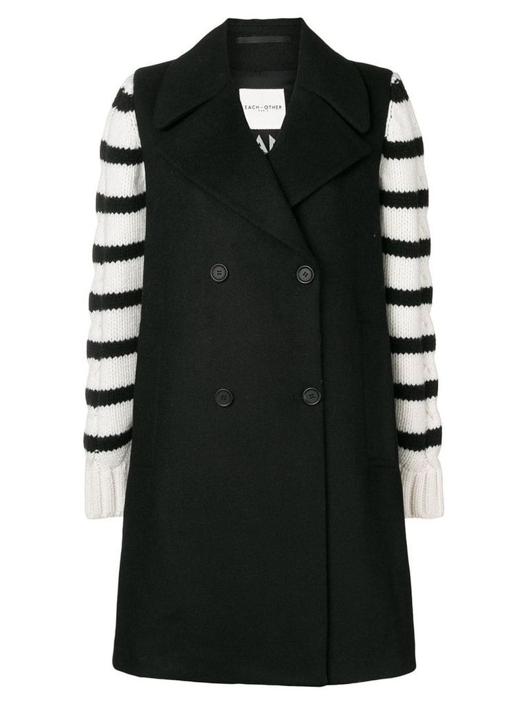 Each X Other striped design oversized coat - Black
