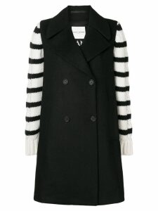 Each X Other striped design oversized coat - Black