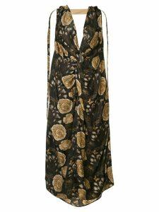 Uma Wang knot detail floral print dress - Brown
