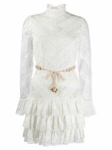 Zimmermann lace panel tiered dress - White