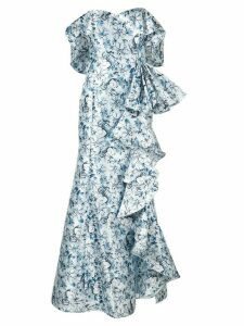 Badgley Mischka off-the-shoulder ruffle gown - Blue