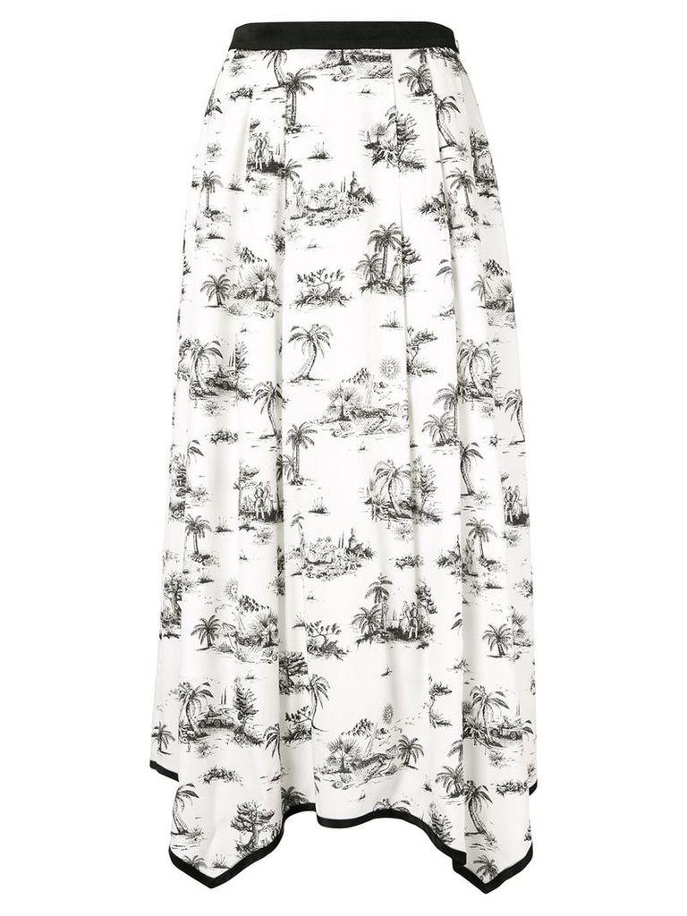 Loveless palm print pleated skirt - White