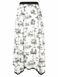 Loveless palm print pleated skirt - White