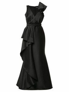 Badgley Mischka pleat detail gown - Black
