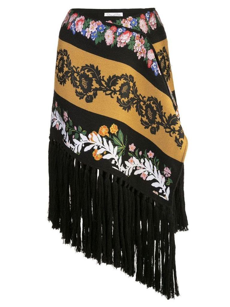 Oscar de la Renta fringed asymmetric skirt - Black