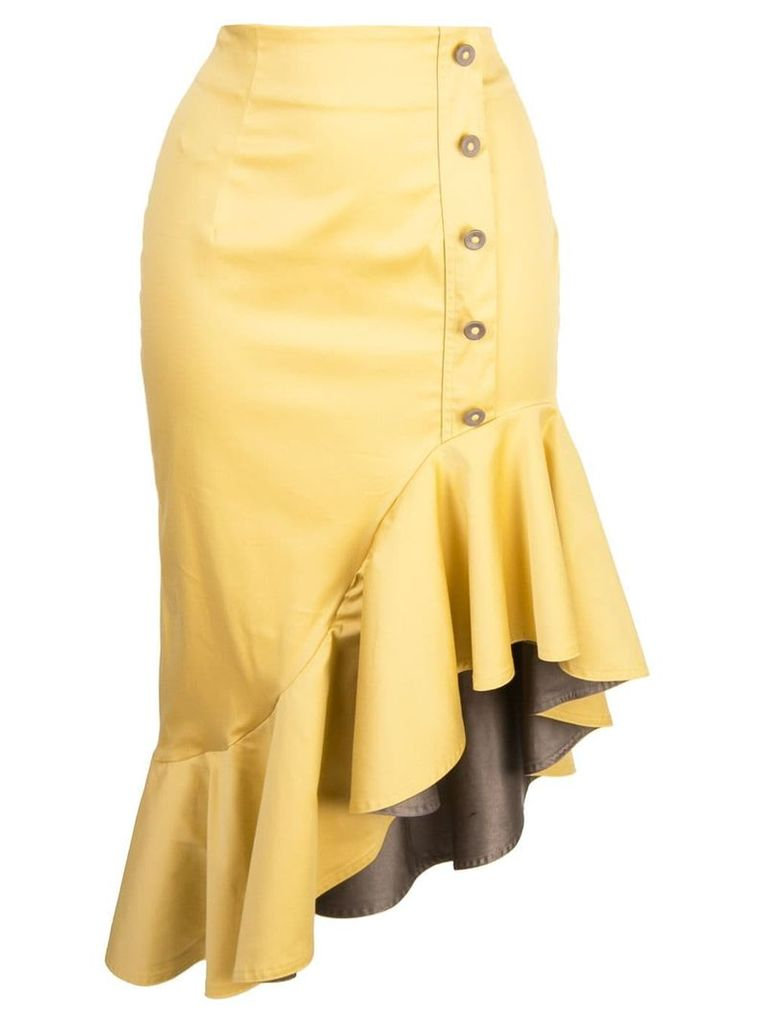 Silvia Tcherassi fitted ruffle skirt - Yellow