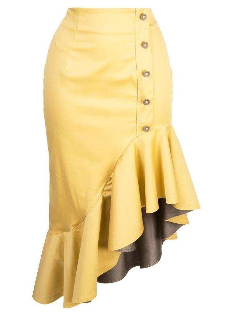 Silvia Tcherassi fitted ruffle skirt - Yellow