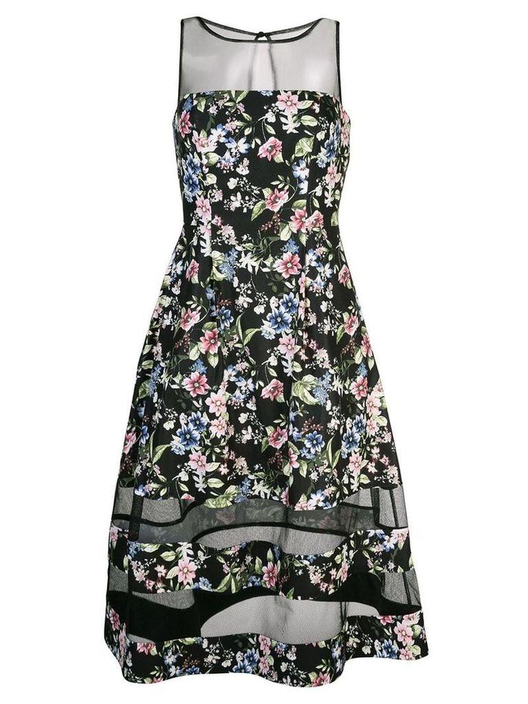 Aidan Mattox floral flared midi dress - Black