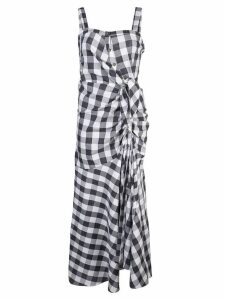 Likely check flared midi dress - Blue