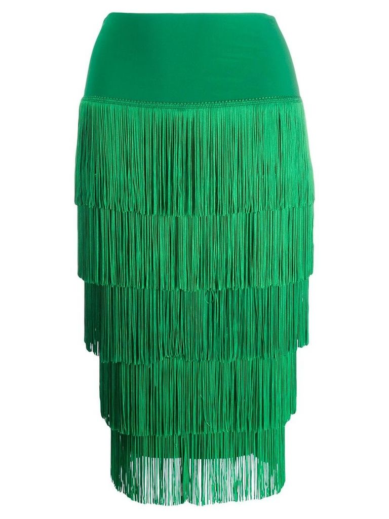 Norma Kamali fringed pencil skirt - Green