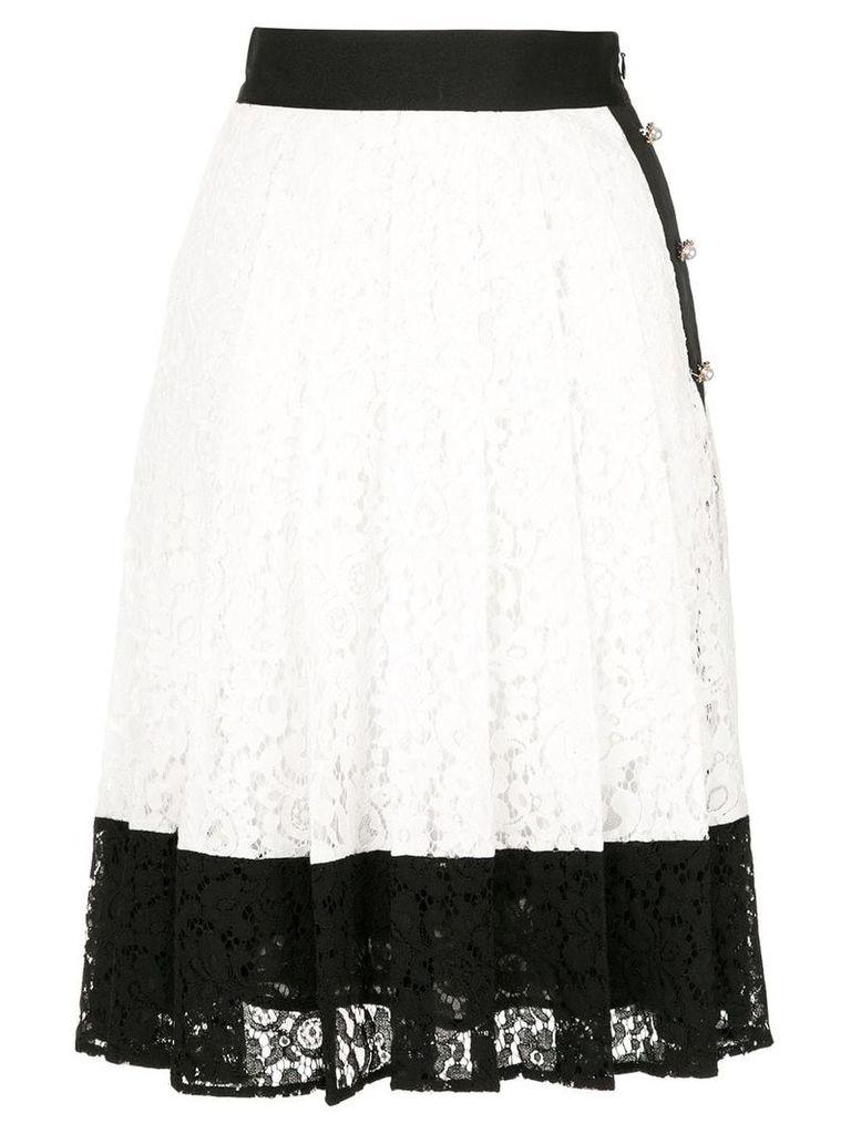 Edward Achour Paris colour block pleated skirt - White