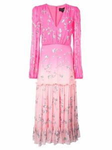 Saloni v-neck floral dress - Pink