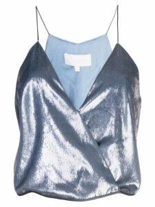 Michelle Mason wrap cami top - Blue