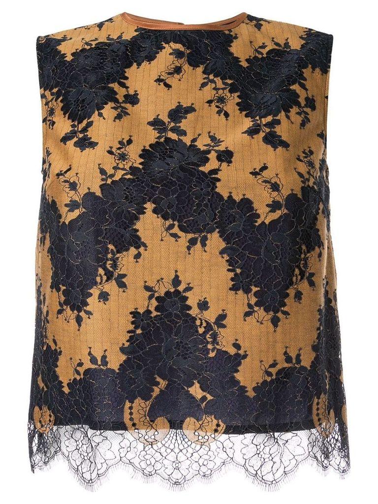 Loveless sleeveless lace top - Yellow