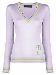 Versace letter patch sweater - Purple