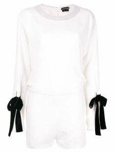 Tom Ford tied sleeve playsuit - White