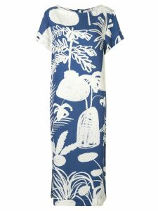 Whit contrast print dress - Blue