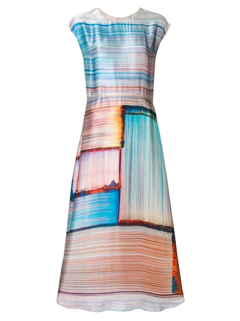 Poiret abstract stripe satin dress - Multicolour