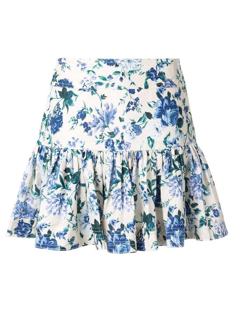 Zimmermann floral print A-line skirt - White