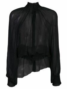 Ann Demeulemeester smocked neck shirt - Black