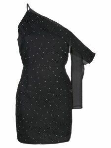 Michelle Mason asymmetric sleeve mini dress - Black
