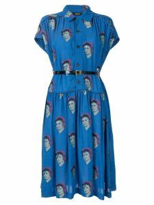 UNDERCOVER Bowie print shirt dress - Blue