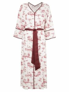 Loveless palm print kimono dress - White