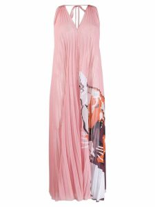 Krizia panther print pleated dress - Pink