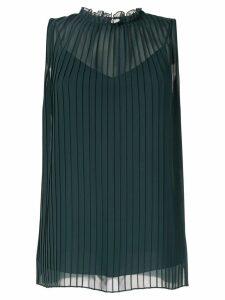 Kuho pleated ruffle neck blouse - Green