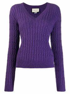 Gucci V-neck cable knit sweater - Purple