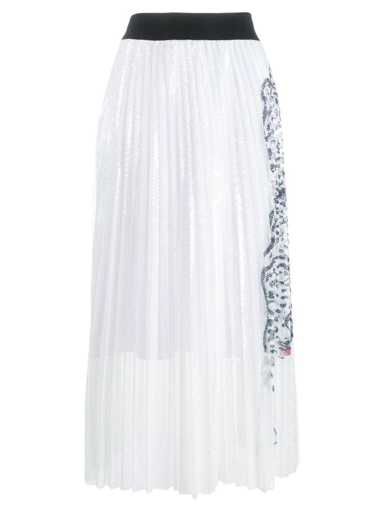 Krizia leopard detail pleated skirt - White