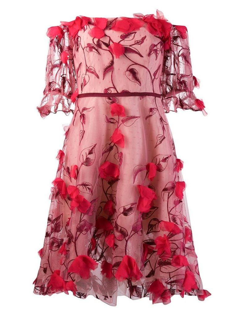 Marchesa Notte appliqué detail dress - Red