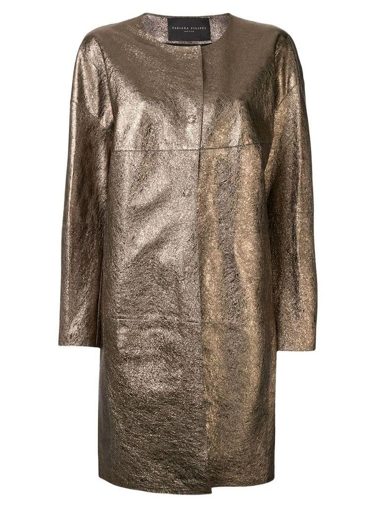Fabiana Filippi collarless metallic coat - Gold