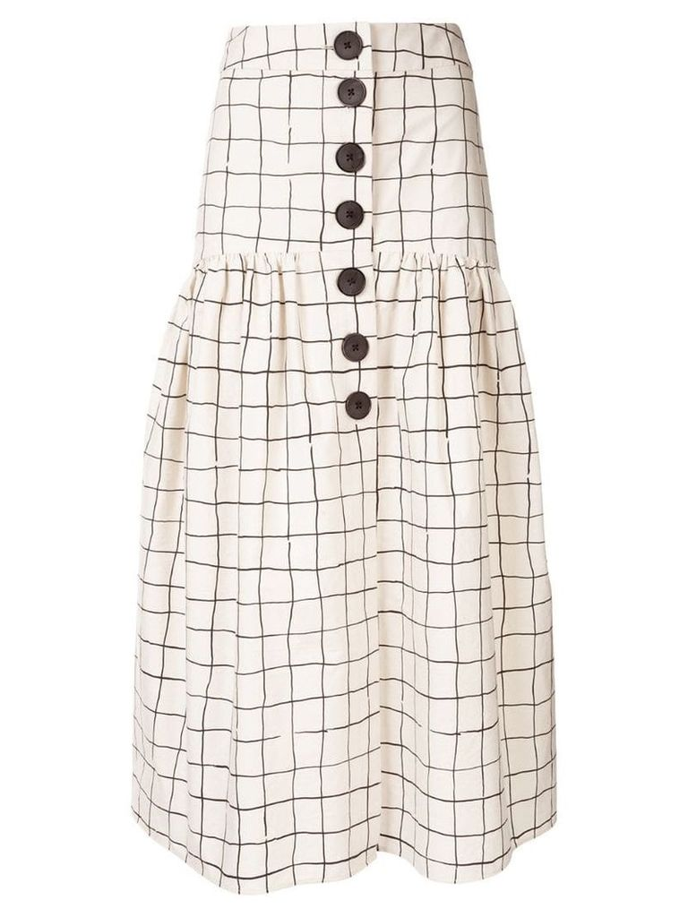 Whit grid print skirt - Neutrals