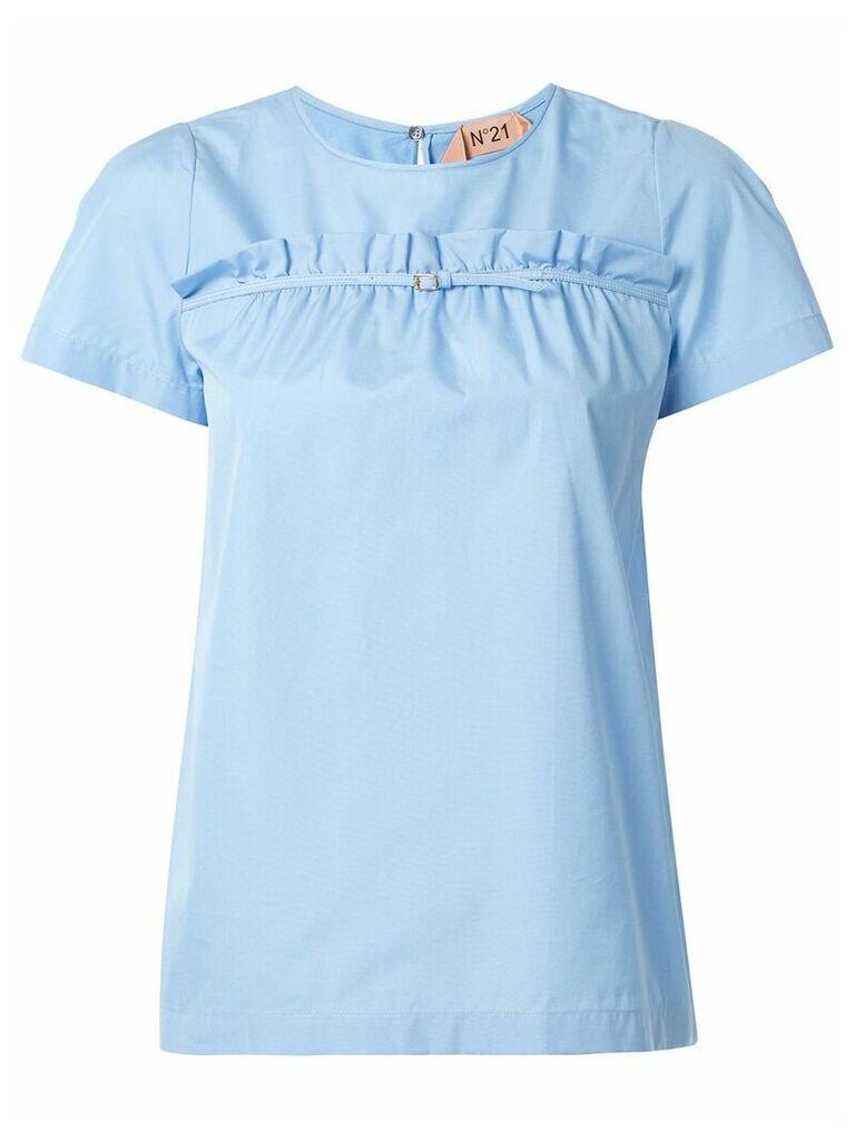 Nº21 ruffle buckle front T-shirt - Blue
