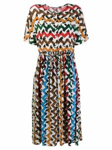 Edeline Lee zig-zag print flared dress - White