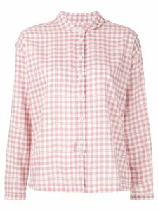 YMC check print Peter Pan collar shirt - Pink